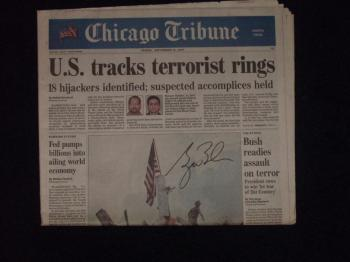 "Image of George W. Bush autographed ""911"" themed 2001 full newspaper"