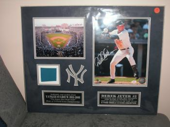 "Image of Derek Jeter AUTOGRAPHED/custom matted ""Steiner"", photo display w/ Actual Yankee Stadium Seat Back piece!"