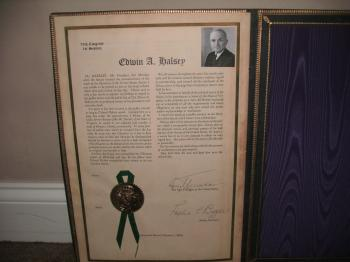 Image of Harry Truman TWICE signed official Senate document.