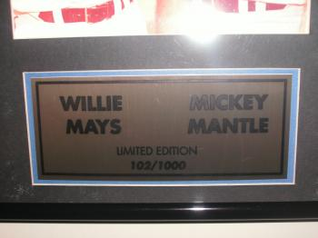 Image of Mickey Mantle and Willie Mays 12X16 Autographed Plaque w/Coa