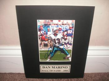 Image of Dan Marino Dolphins Autographed Double Matted 8X10 Display