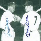 Image of Joe DiMaggio-Mickey Mantle hand signed Yankees photo.