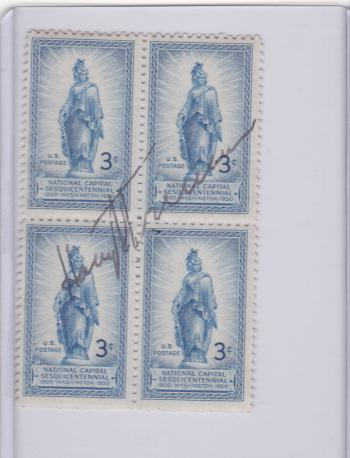 Image of Harry Truman Autographed certified uncut block of four 3-cent US stamps