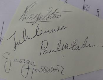Image of THE BEATLES band signed/certified vintage irregular cut!