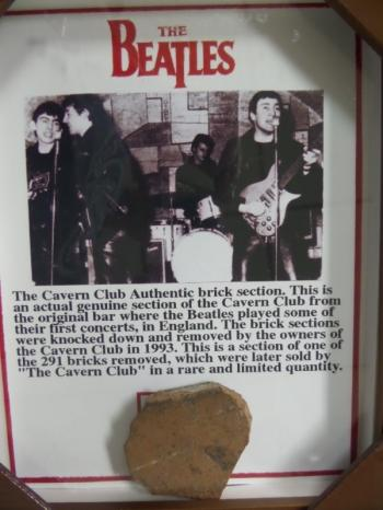 Image of The Beatles original custom framed Brick from the Cavern Club with COA!