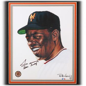 Image of Willie Mays Autographed Custom Multi-Layer Framed Showpiece