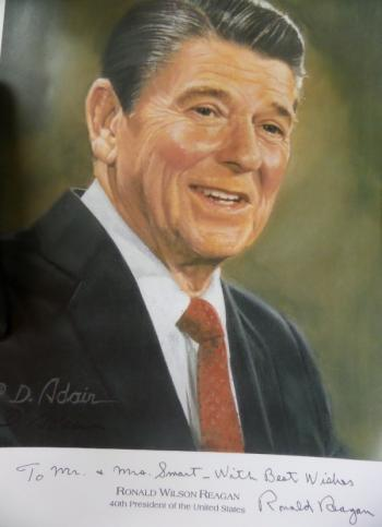 Image of Ronald Reagan hand signed Presidential portrait.